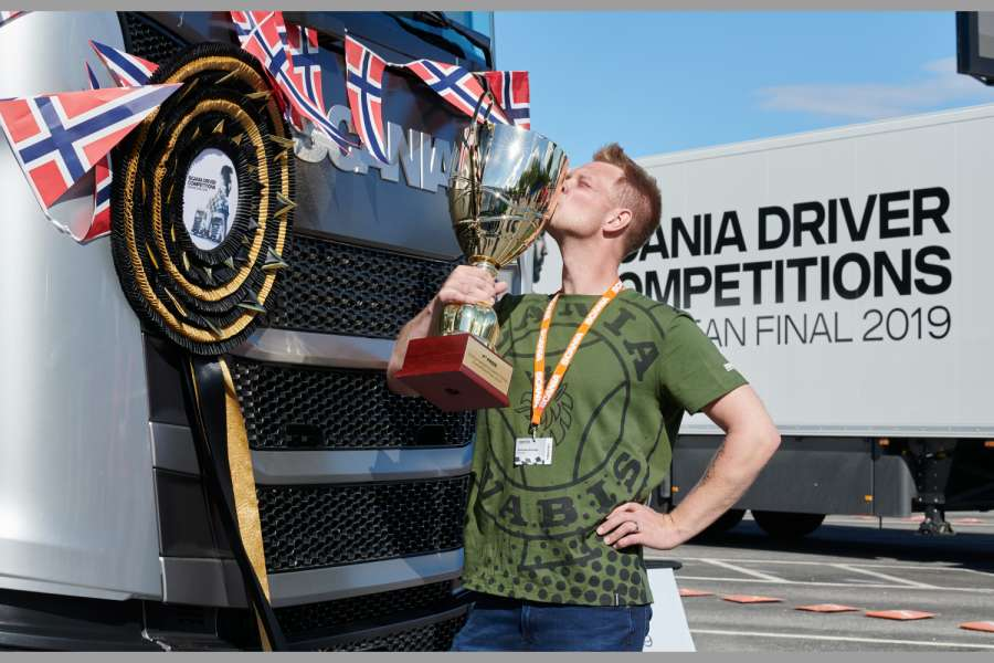 Scania Driver Competitions: Norweger Andreas Nordsjø gewinnt Scania Lkw. Foto: Scania